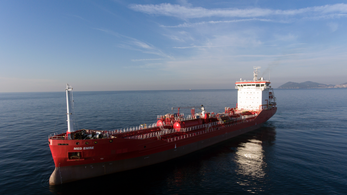 Med Emre is an IMO II chemical and oil tanker