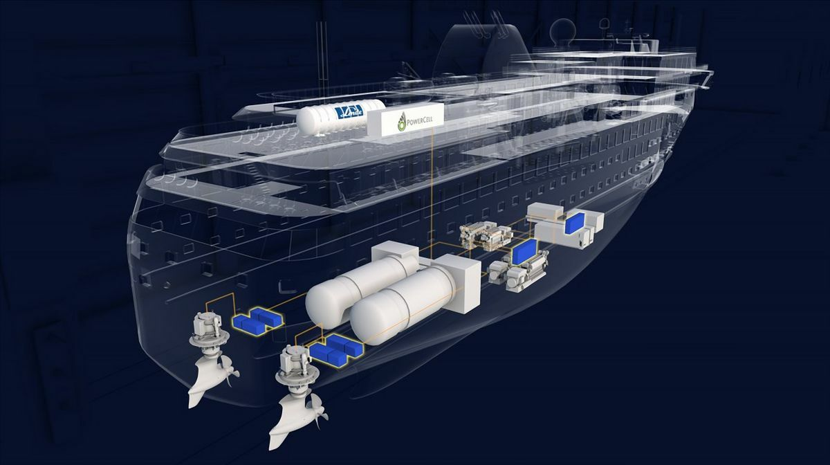 A prototype propulsion system, with integrated LH2 tank and fuel cells (image: Havyard)