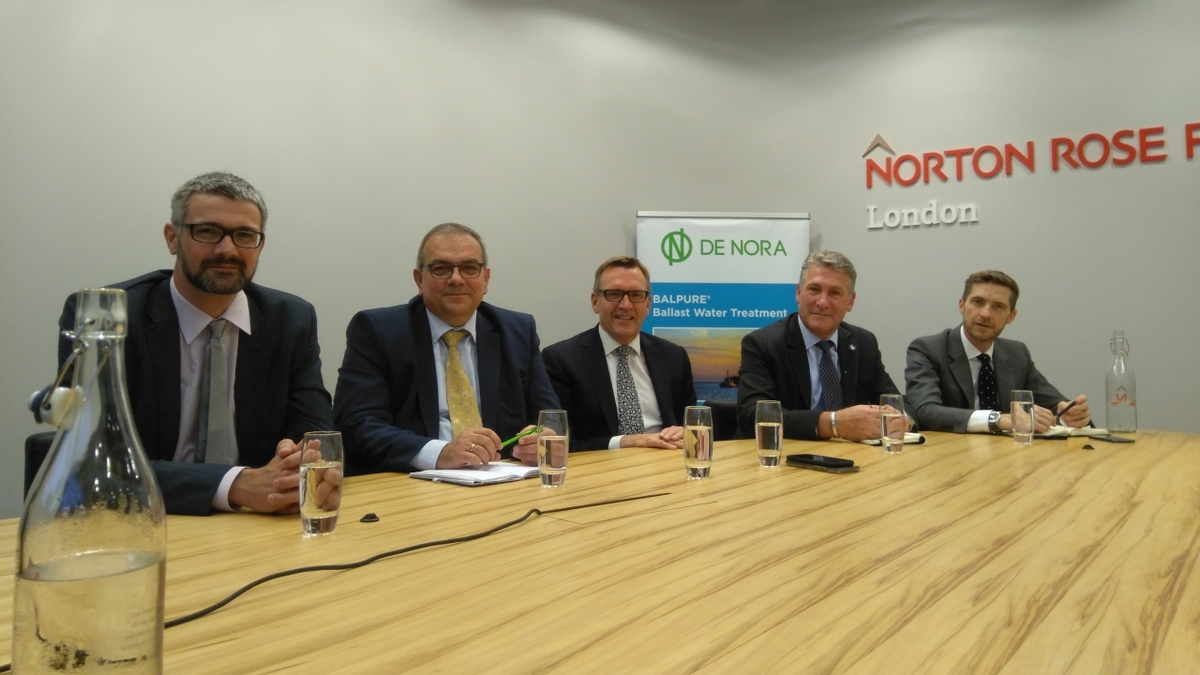 Ballast water webinar panel participants gathered at the Norton Rose Fulbright offices in London