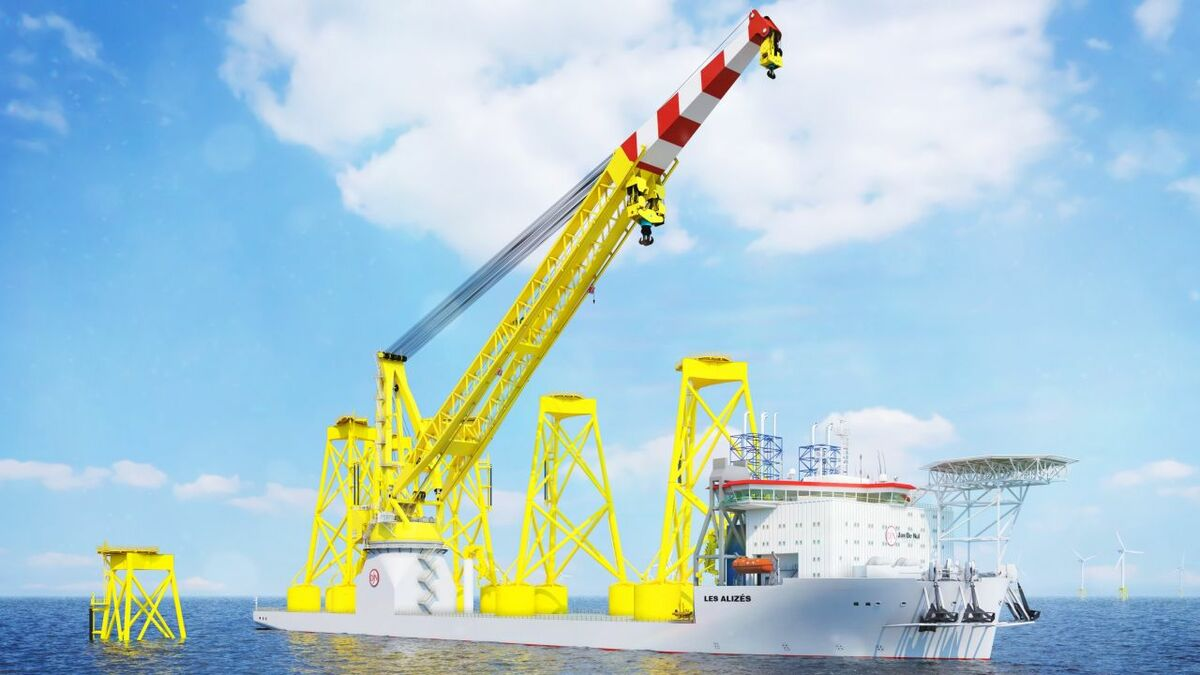 The crane on Jan De Nul's new vessel is designed to lift and upend large structures