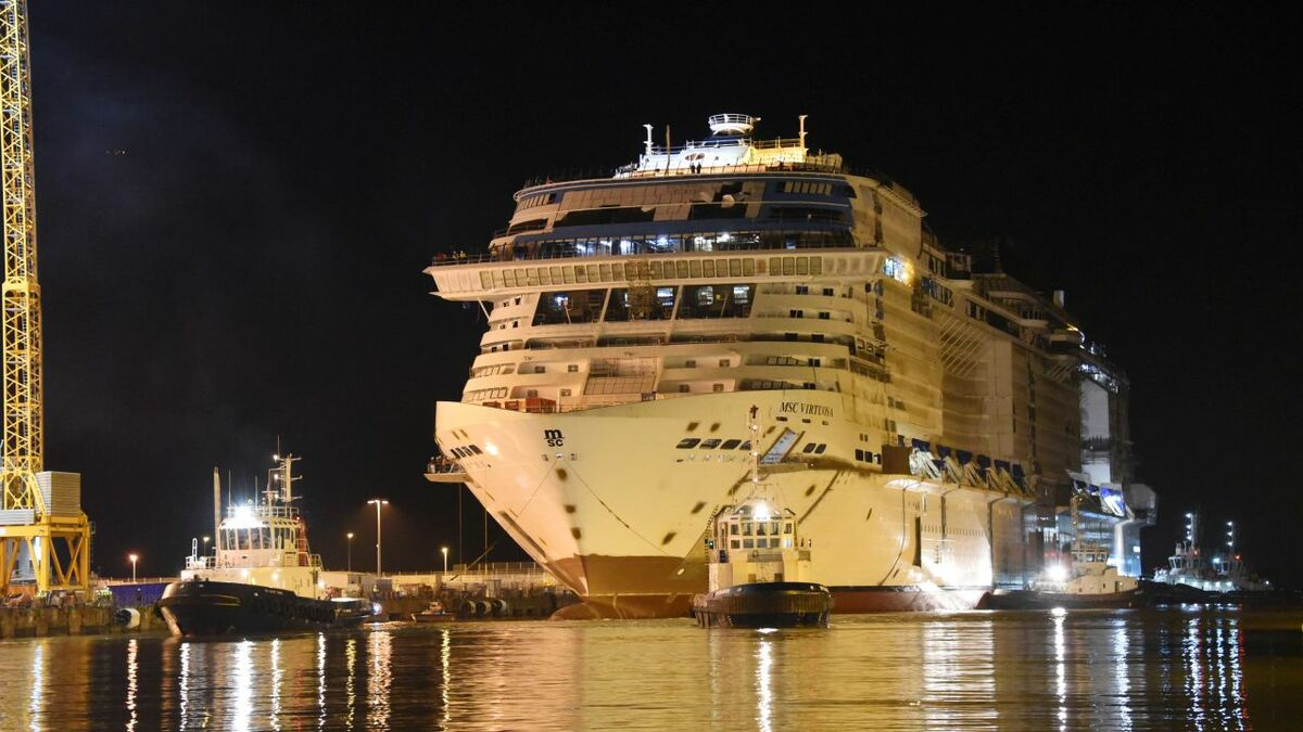 MSC Virtuosa has been floated out (credit: Bernard Bigger/Chantiers de de l'Atlantique)