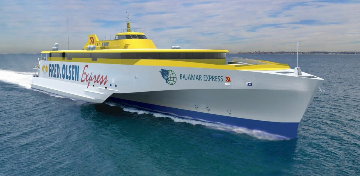 Bajamar Express features Austal's latest, optimised trimaran hull form (rendering pictured)