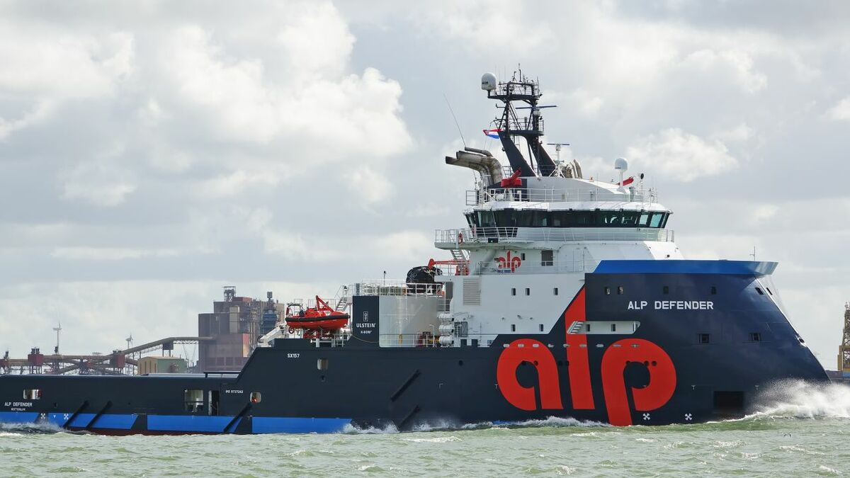 ALP Defender is one of four Future-class oceangoing anchor handling and salvage tugs