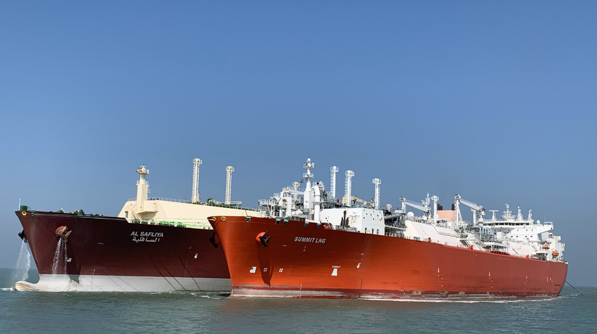 Q-Flex LNG carrier Al Safliya offloading cargo to FSRU Summit LNG