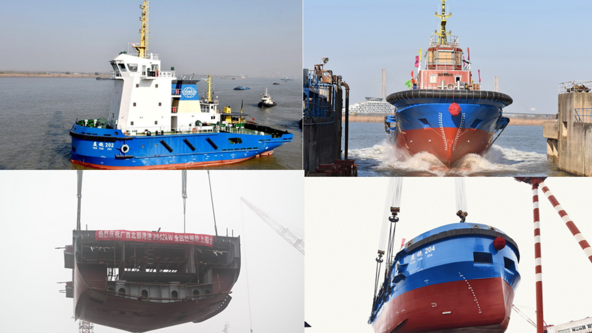 Jiangsu Zhenjiang Shipyard delivers, launches and lays keel on tugboat projects