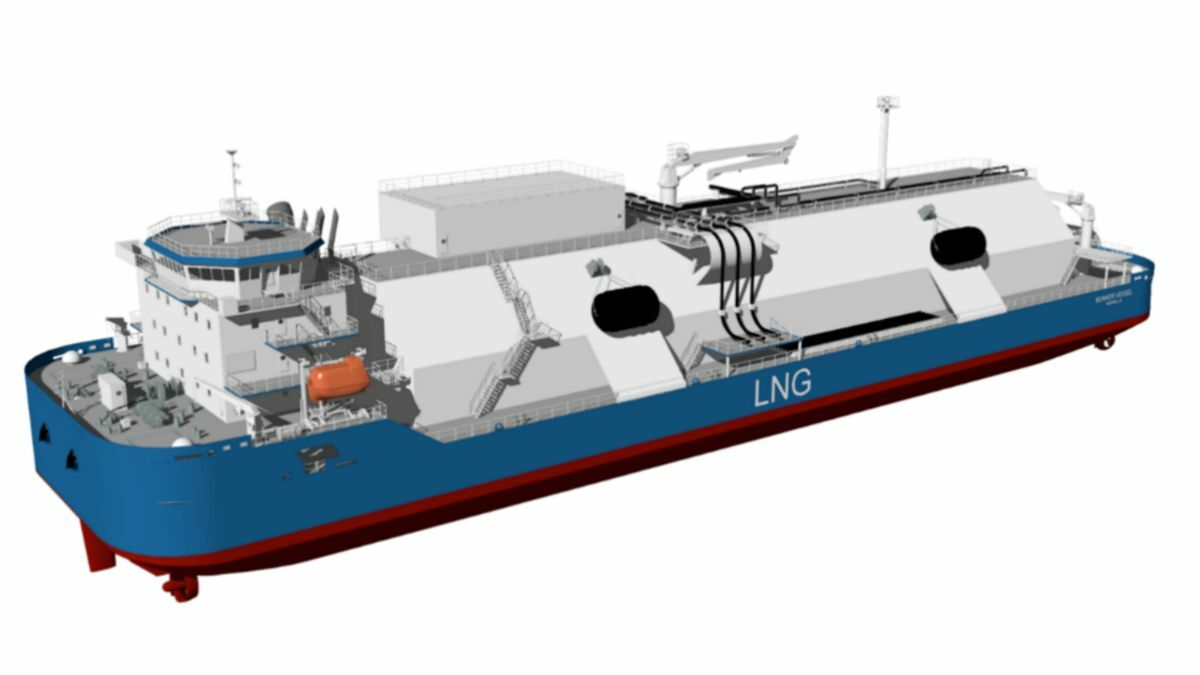 Four azimuthing thrusters will provide the LNG bunker vessel with DP2 capability