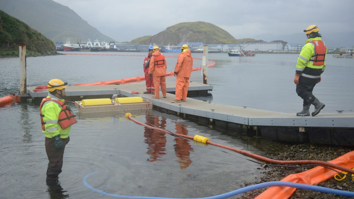 Teams are trained on using oil containment booms and recovery skimmers