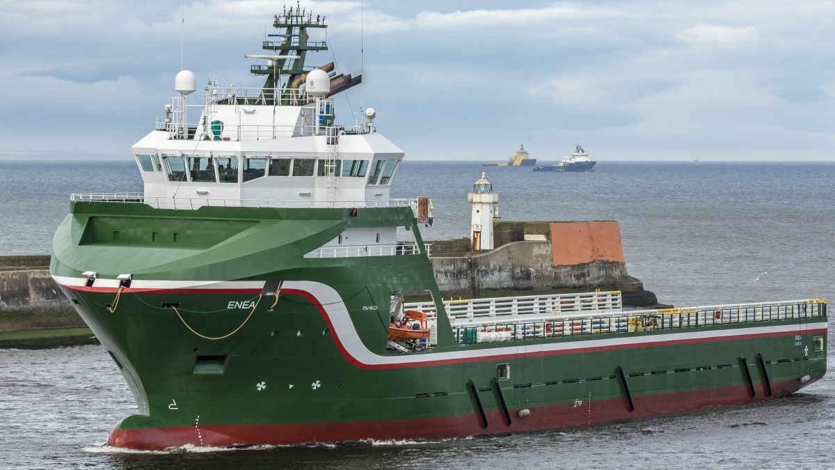 UK-flag PSV Enea arriving in Aberdeen (image: Alan Jamieson)