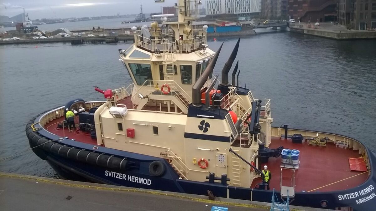 Svitzer Hermod was the first tug to be remotely controlled from shore in Copenhagen, Denmark