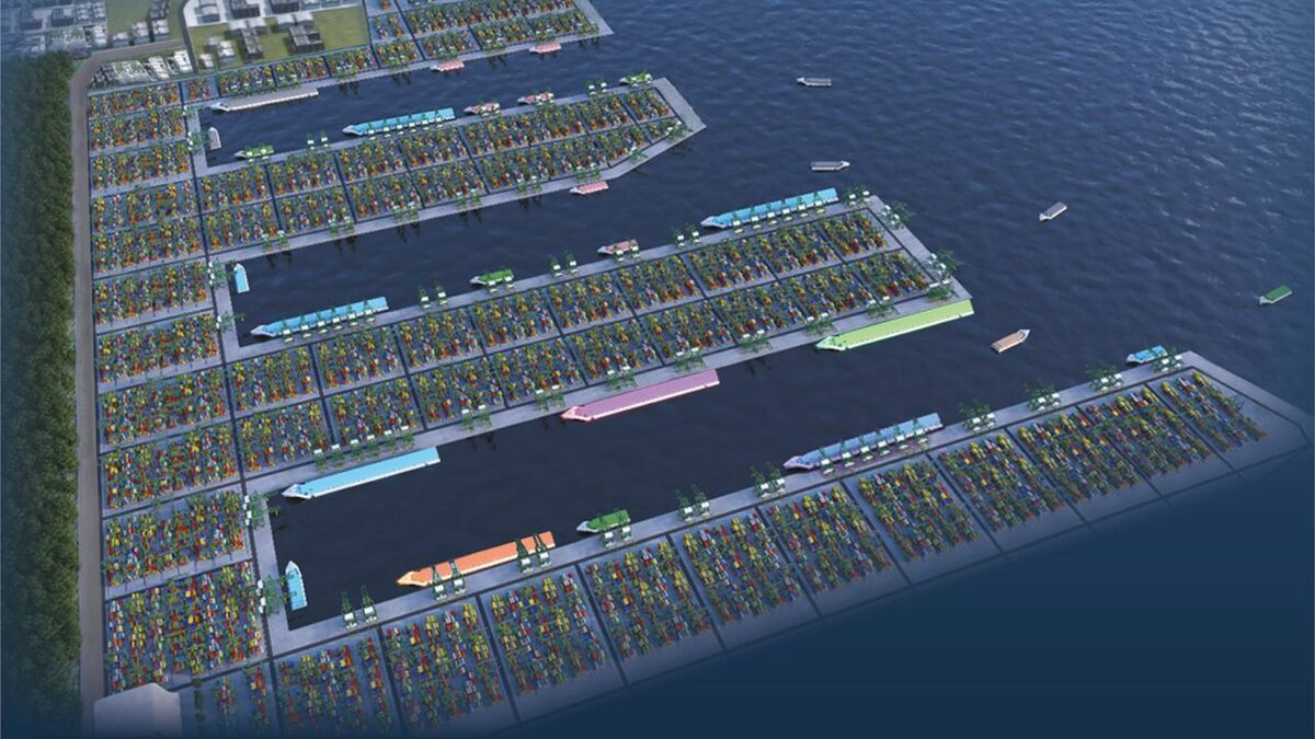 PSA has started building its Tuas terminal - the 'future Singapore transhipment hub' (credit: PSA)