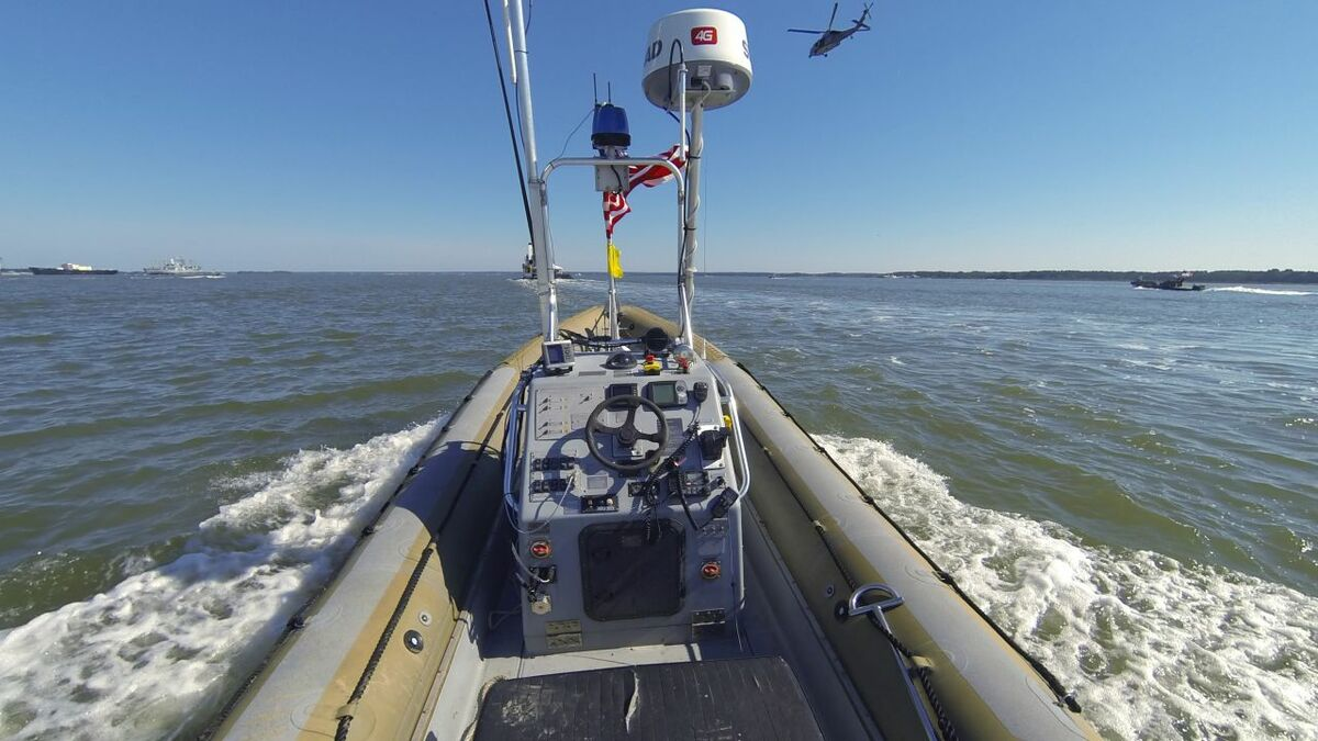 A rigid hulled inflatable boat operates autonomously during US Navy trials