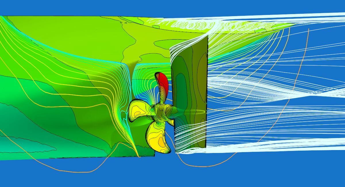 CFD helped optimise flow to the propeller and supported the development of the asymmetric stern