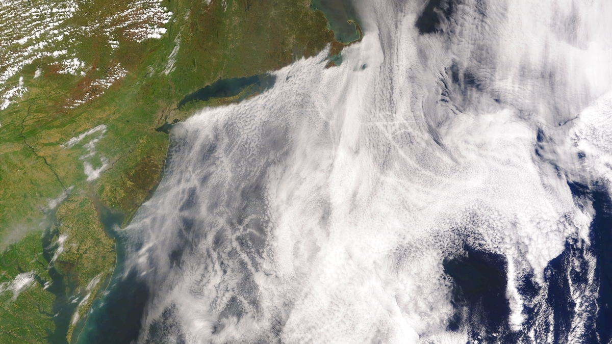 Satellite image of ship tracks, clouds created by emissions from ship funnels (source: NASA)