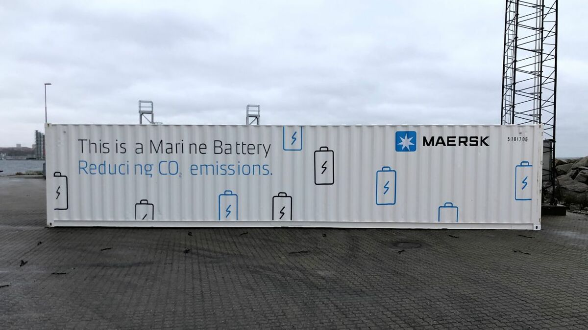 Maersk's battery system is housed in two 40-ft containers, with one housing most of the equipment