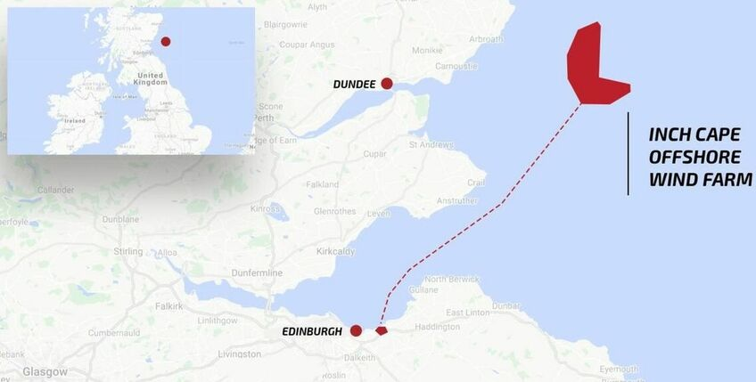 The Inch Cape offshore windfarm is 15-22 km east of Angus in Scotland