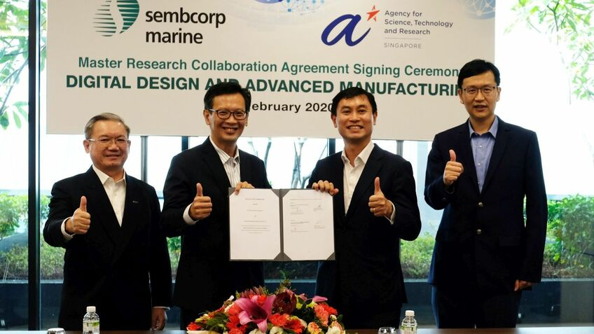 Personnel from Sembcorp and A*STAR at a ceremony to launch the agreement between them