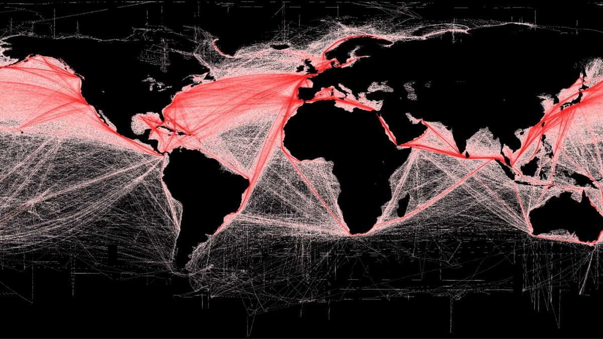 Global shipping routes image by B S Halpern (T Hengl; D Groll)/Wikimedia Commons