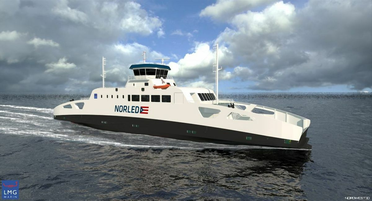 Norled's hydrogen-fuelled fast ferry should be capable of speeds up to 45 knots (image: LMG Marin)