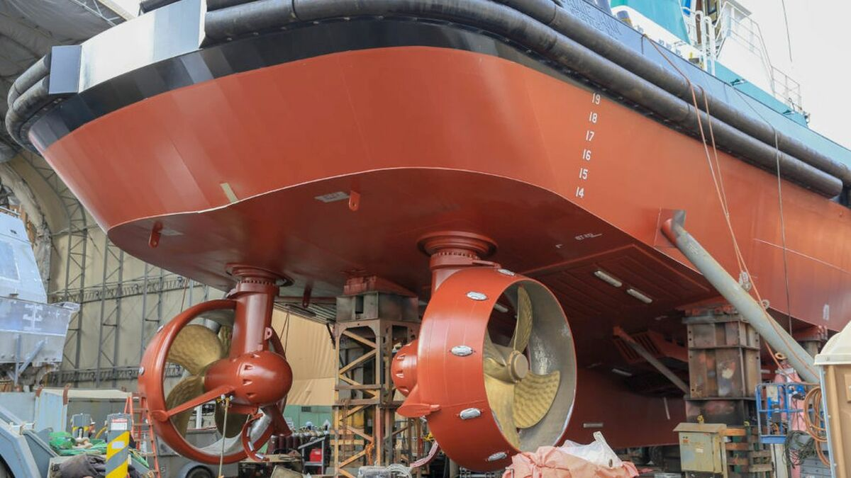 Foss's Jamie Ann escort tug has two thrusters at the stern