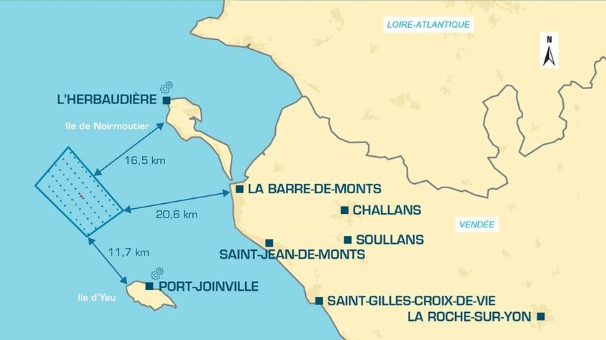 The windfarm is between the islands of Yeu and Noirmoutier