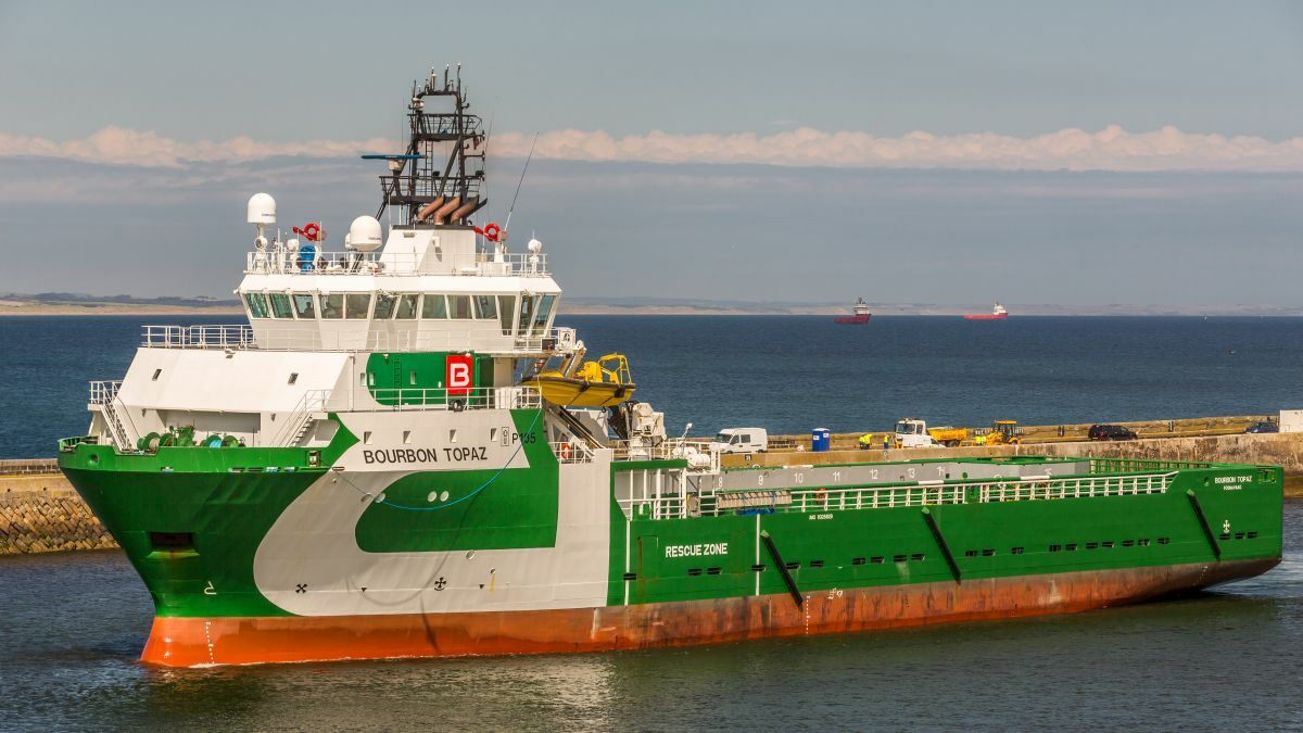 One of the vessels deployed to Bulgaria to support Shell was Bourbon Topaz (image: Alan Jamieson)
