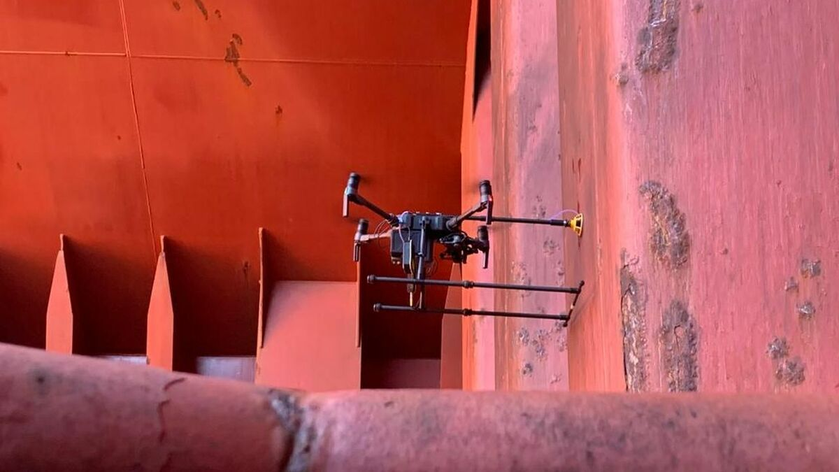BV drone takes ultrasonic thickness measurements inside the hold of a bulk carrier