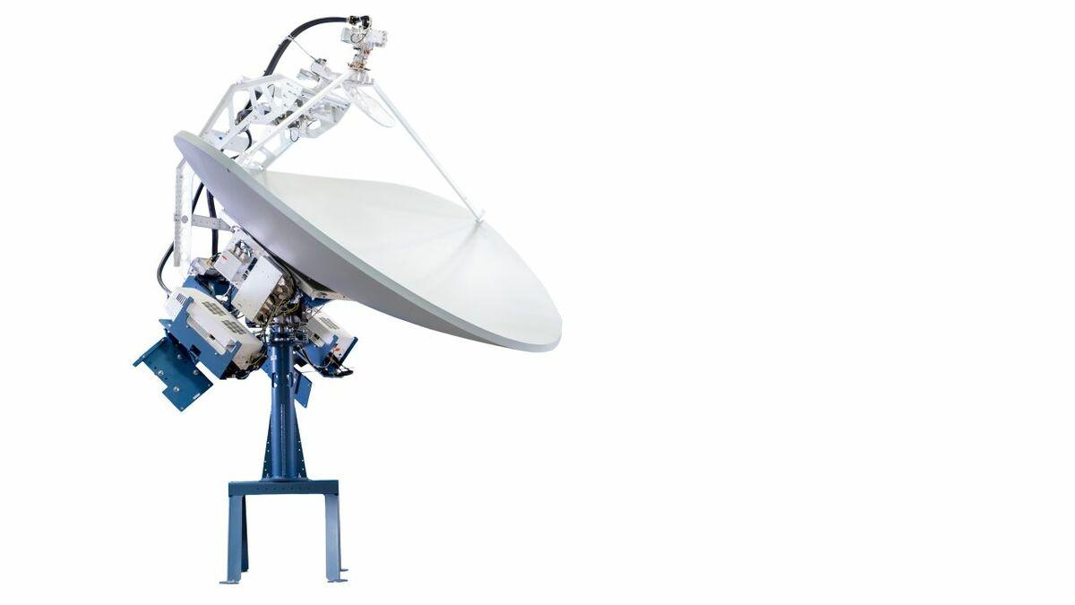 Cobham Satcom's Sea Tel 2400 triple-band antenna with 2.4 m dish