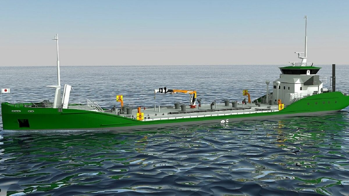 Asahi Tanker and e5 Laboratory's render of a fully electric e5 design tanker