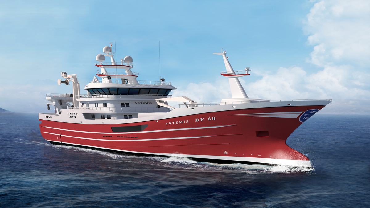 The new fishing trawler will feature Wärtsilä's main (W31) and auxiliary (W14) engines (Copyright: Karstensen)