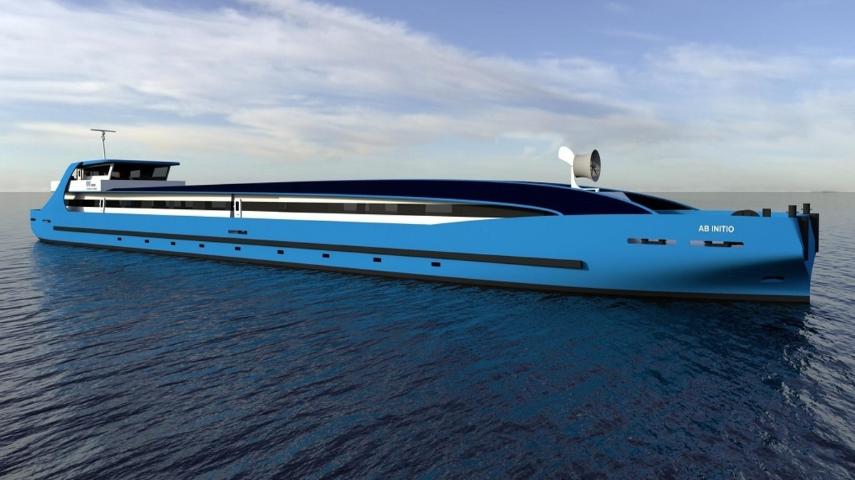 Rendering of Ab Initio, a new training vessel for maritime training institution STC Group