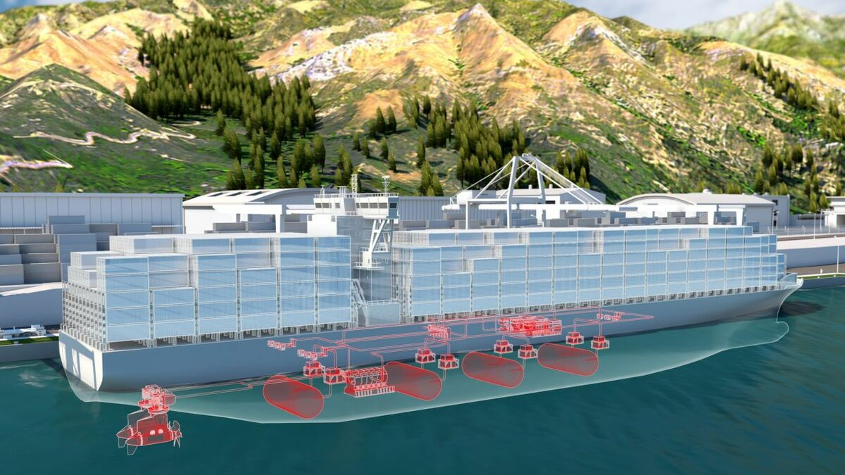 Schematic of container ship with hydrogen fuel cells (credit: ABB)