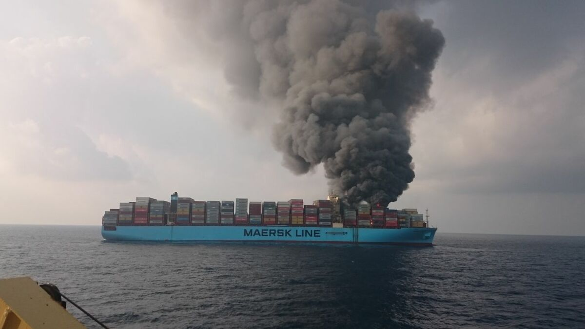 Salvors are contracted to extinguish container ship fires