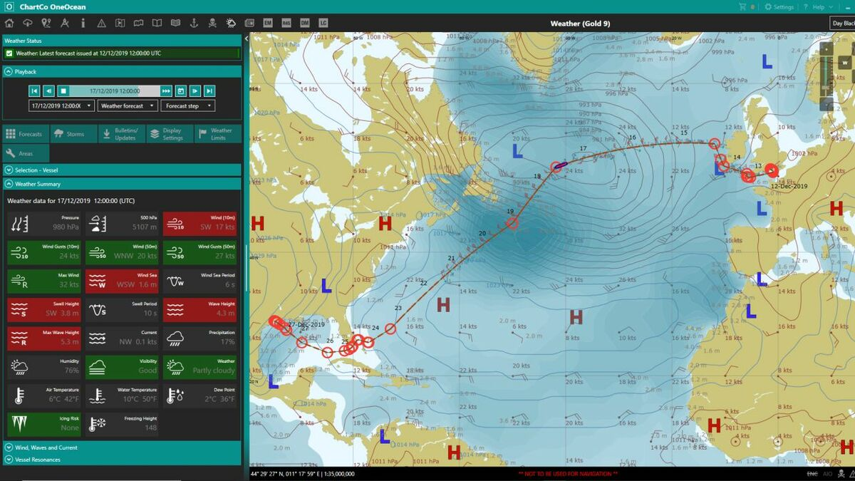 OneOcean PassageManager provides weather routeing for voyage optimisation