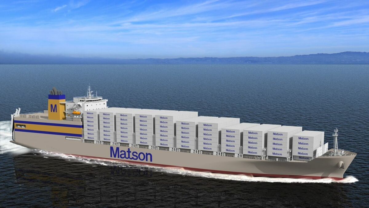 Matson's Kanaloa-class are the company's first ships built especially for roro work and the first to have their own vehicle ramps (credit: Matson)