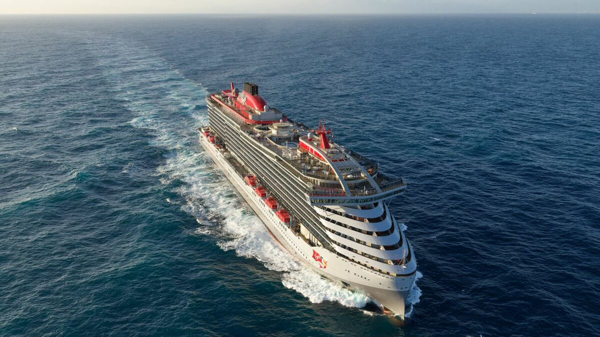 The vertical bow, the continuous front surface that joins hull and superstructure and the yacht-style funnel matched aesthetical ambition with structural design and manufacturing constraints (credit: Virgin Voyages)