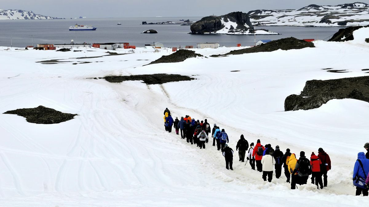 Tourists and shipping in Fildes Bay, Antarctica (source: WikiCommons)