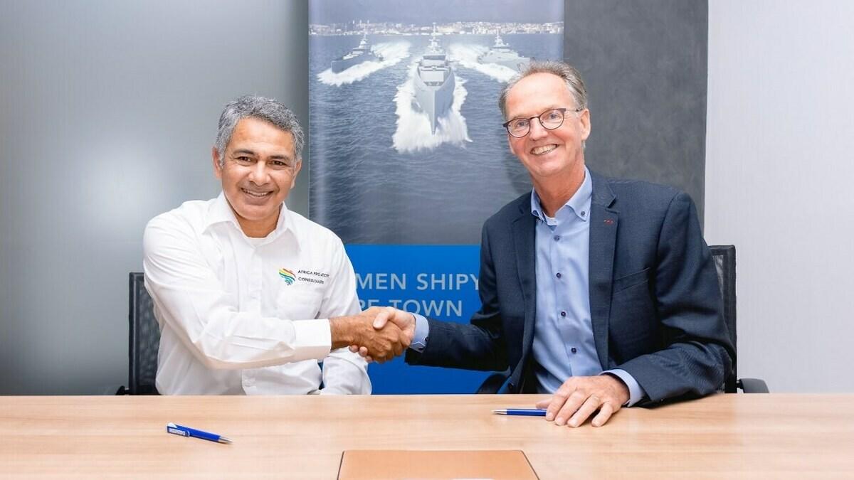 Jaap de Lange (R), formerly MD, Damen Shipyards Cape Town, will take over as MD of AEGIR-Marine (credit: Damen)