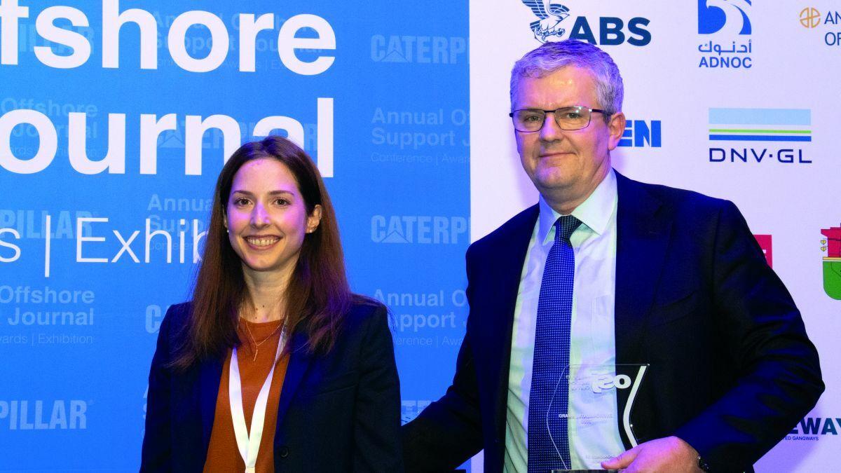 MSS CEO Steen Karstensen and fleet energy efficiency manager Eirini Arvanitaki accept the award