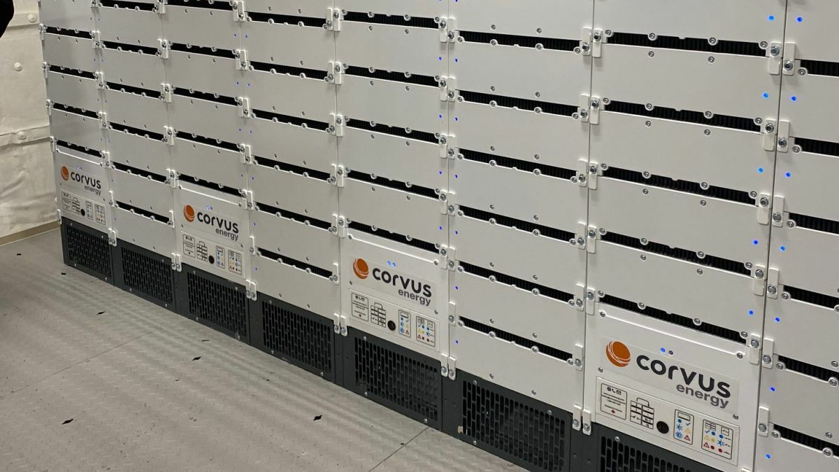 Corvus' 5.5-MW batteries have been installed on Grimaldi's Cruise Roma