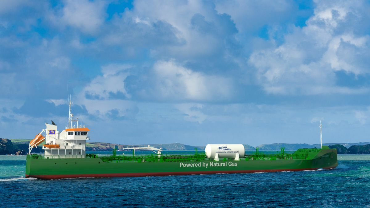 Thun Evolve is one of two tankers that will operate on a 10% liquefied biogas blend