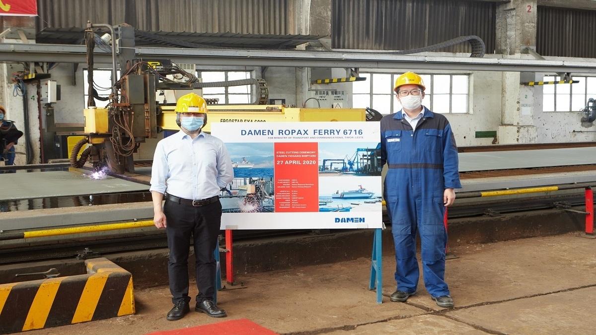 Damen hosts digital steel-cutting ceremony for ropax newbuild