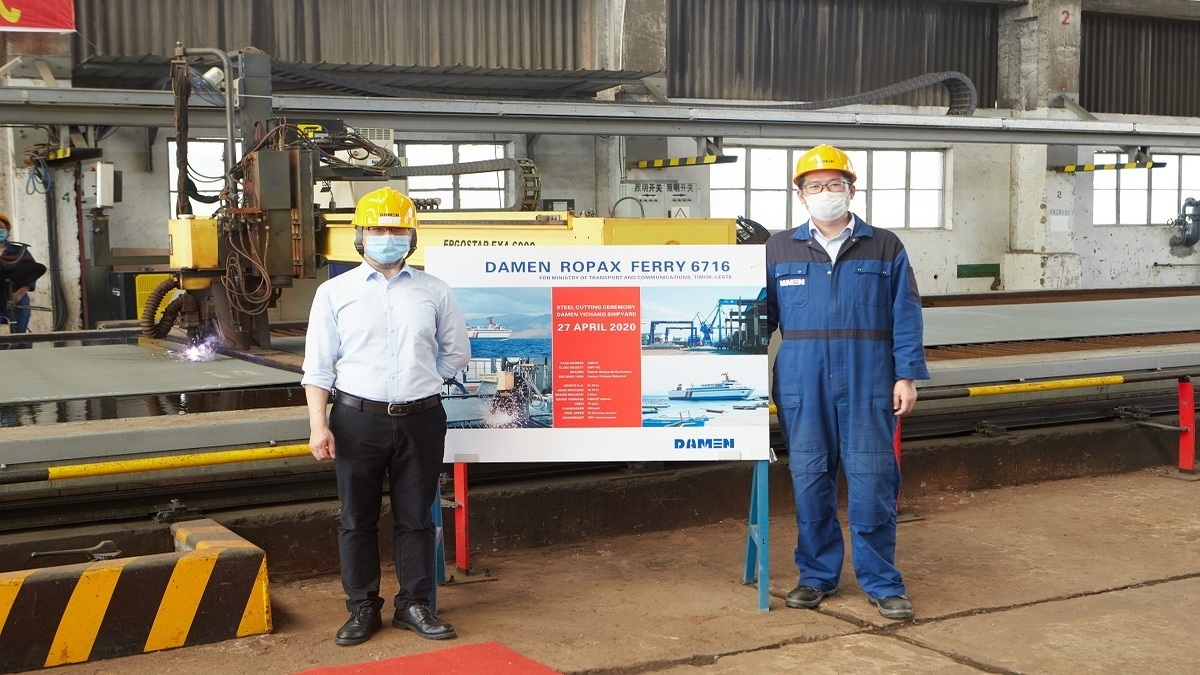 Damen conducted a 'digital' steel cutting ceremony in China for a new ferry to be delivered to the government of Timor-Leste (Image: Damen)