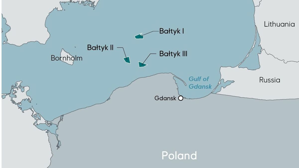 Map showing the location in the Baltic of the Bałtyk I, II and III offshore windfarms