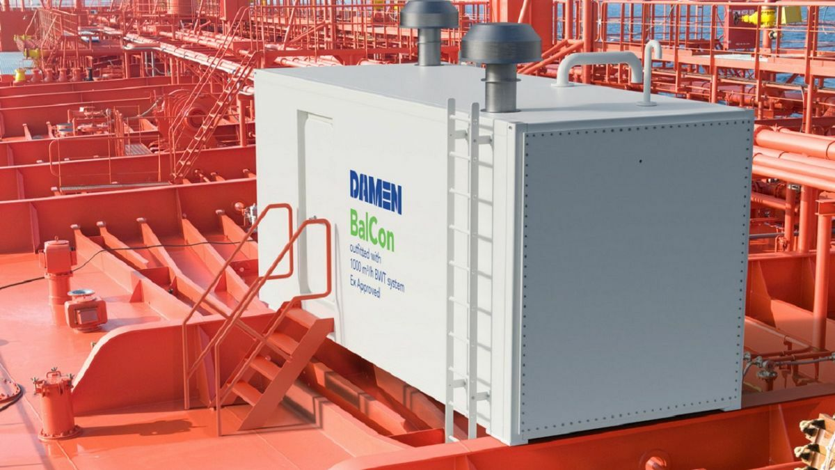 Damen says its slam-proof deckhouse can withstand green sea better that the shipping container alternative