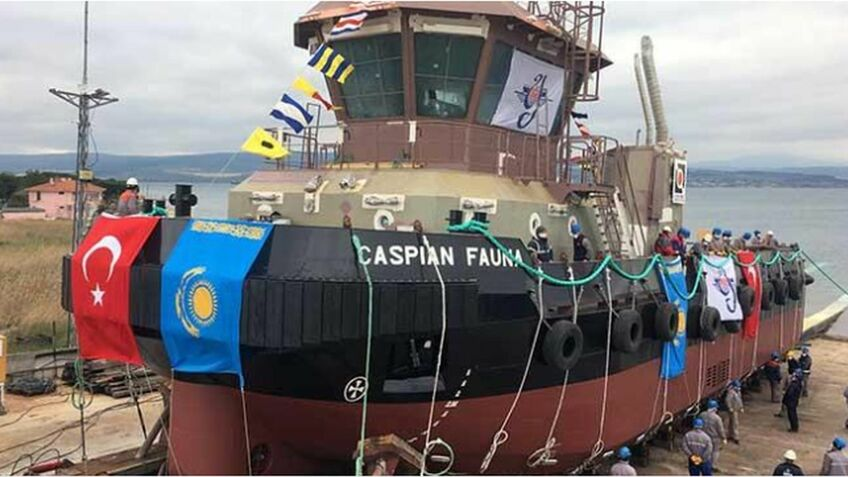 Ice-class tug launched for Caspian port operations