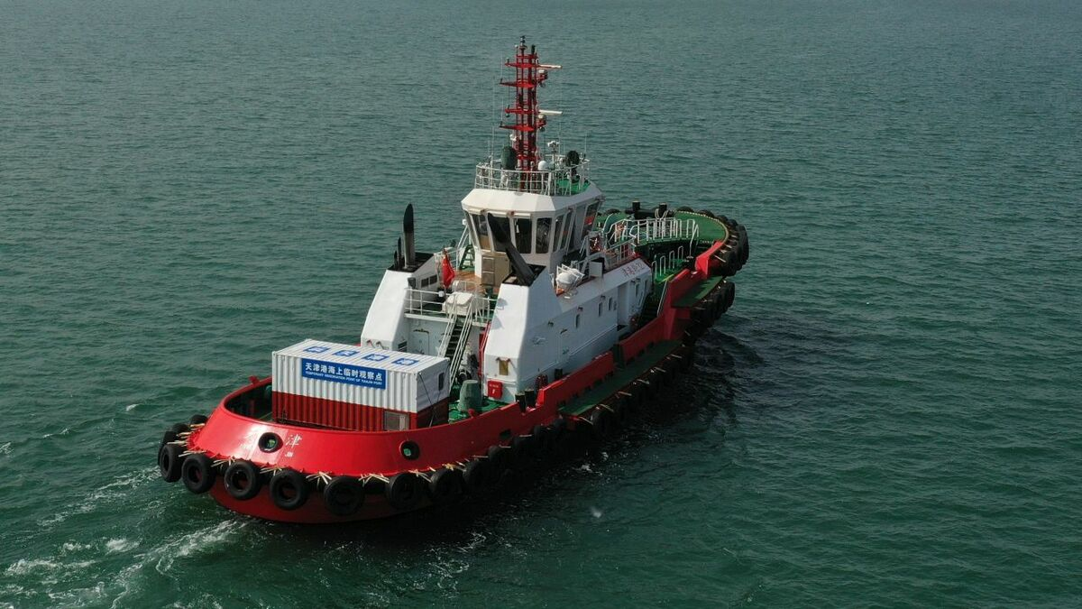 Robert Allan-designed Chinese tug with container quarantine on aft deck