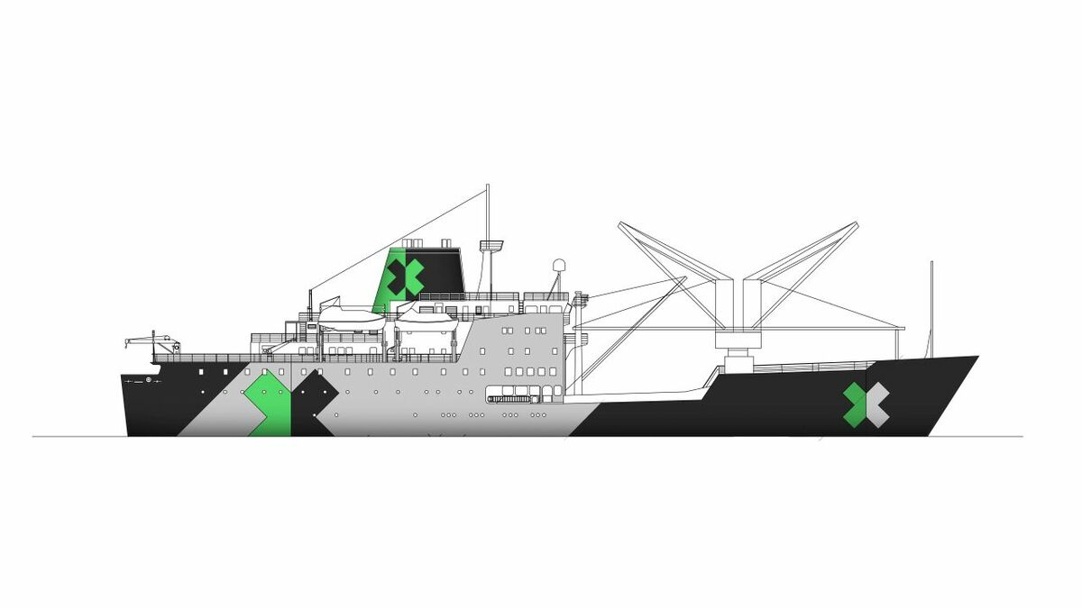 An artist's impression of how what RMS St Helena will look when the refit is finished