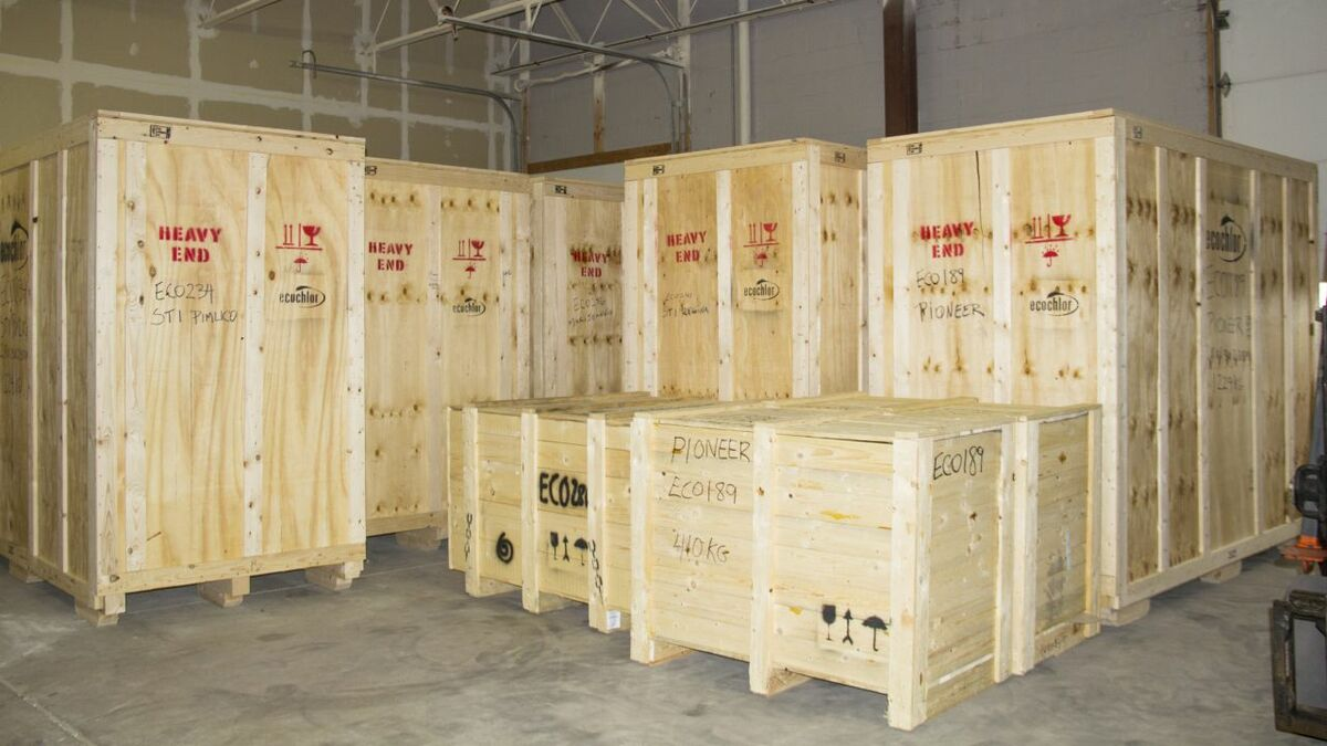 Keeping the supply chain satisfied: Ecochlor ballast water treatment systems crated and ready to ship