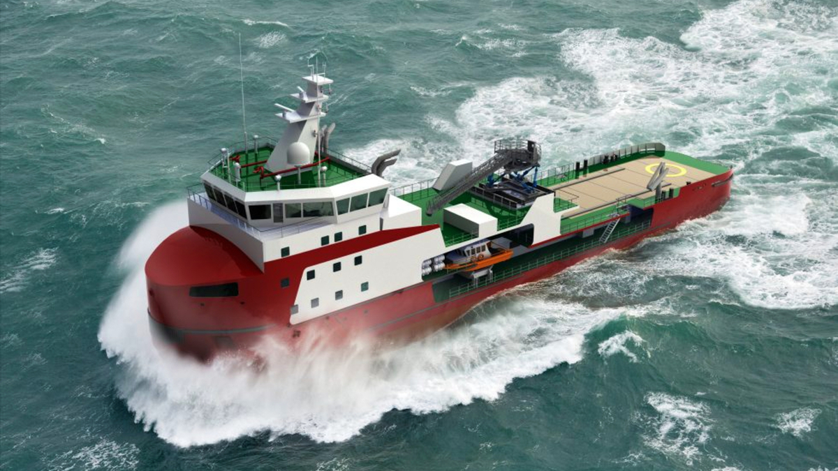 The new icebreaking multi-purpose vessel will be able to transit 100 cm of ice