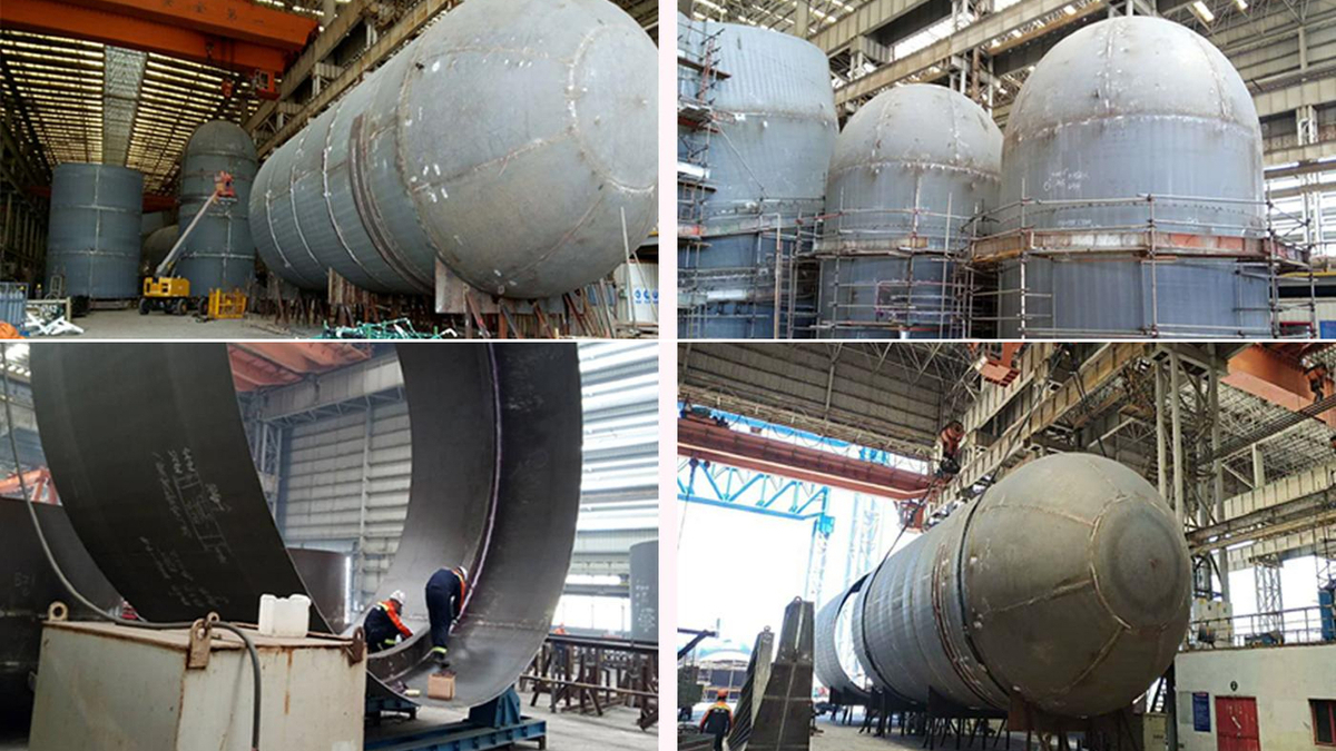 Cargo tanks under construction for largest US LNG bunker barge